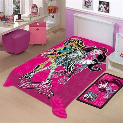 COBERTOR JUVENIL RASCHEL ROSA/MONSTER HIGH - JOLITEX