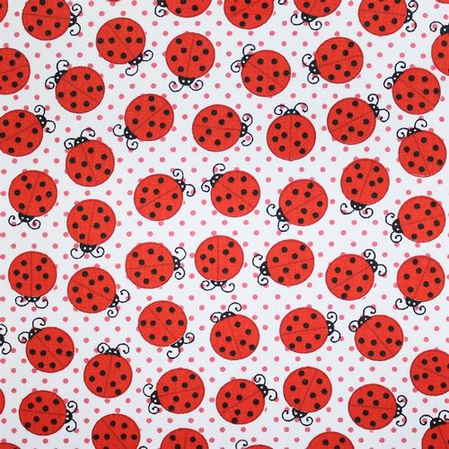 TECIDO TRICOLINE BICHOS 1,00 X 1,49 28413 LADY BUG BACKGROUNG WHITE DES. 001 - NIAZI