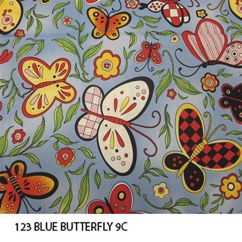 TECIDO TRICOLINE BICHOS 1,00 X 1,50 BLUE BUTTERFLY 001 - NIAZI