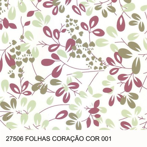 TECIDO TRICOLINE FLORAL 1,00 X 1,40 27506 FOLHAS CORAÇÃO DES. 001 - NIAZI