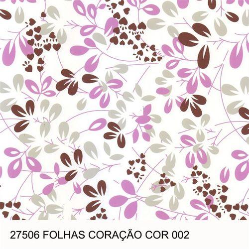 TECIDO TRICOLINE FLORAL 1,00 X 1,40 27506 FOLHAS CORAÇÃO DES. 002 - NIAZI