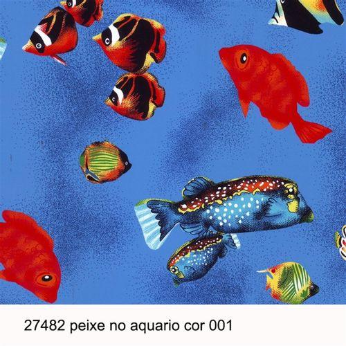 TECIDO TRICOLINE BICHOS 1,00 X 1,40 27482 PEIXE NO ÁQUARIO DES. 001 - NIAZI