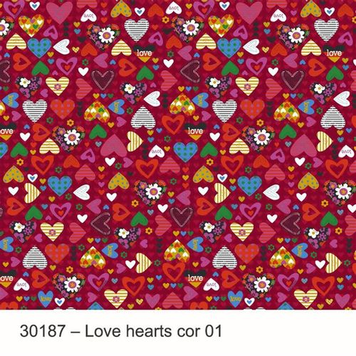 TECIDO TRICOLINE INFANTIL 1,00 X 1,50 30187 LOVE HEARTS DES. 001 - NIAZI