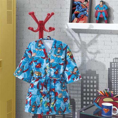 ROUPÃO INFANTIL VELOUR SUPERMAN COM MANGA G - DOHLER