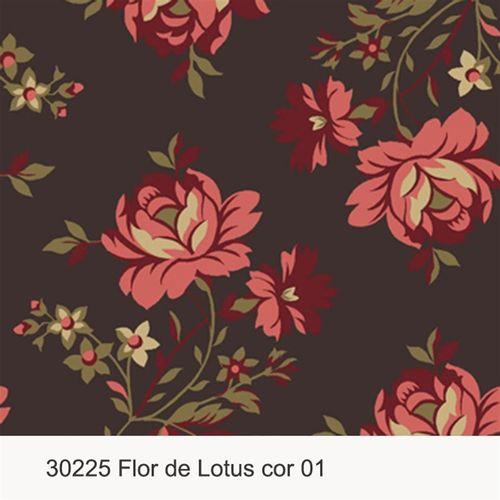 TECIDO TRICOLINE SILK FLORAL 1,00 X 1,50 30225 FLOR DE LOTUS DESENHO 001 - NIAZI