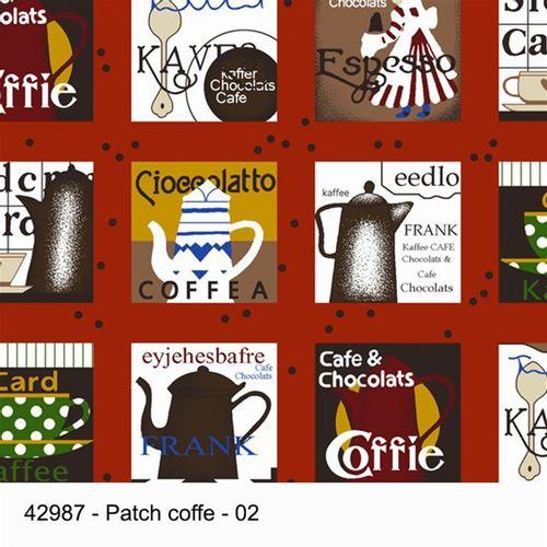 TECIDO TRICOLINE SILK ESTAMPADA 1,00 X 1,50 42987 PATCH COFFE DESENHO 002 - NIAZI