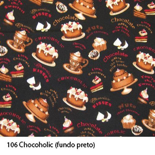 TECIDO TRICOLINE CAKE CANDY 1,00 X 1,50 38309 CHOCOHOLIC FUNDO PRETO DES. 001 - NIAZI