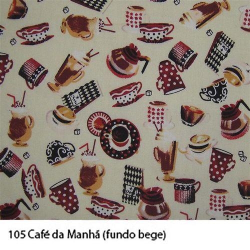 TECIDO TRICOLINE COZINHA 1,00 X 1,40 CAFÉ DA MANHÃ FUNDO BEGE - NIAZI