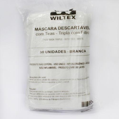 MÁSCARA COM FILTRO E TIRAS TRIPLAS PROTEÇÃO CONTRA VIRUS E BACTERIAS - BRANCA - COM 50 - WILTEX