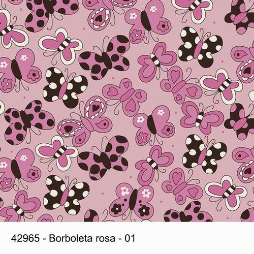 TECIDO TRICOLINE 1,00 X 1,40 42965 BORBOLETA ROSA 01- NIAZI