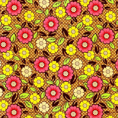 TECIDO TRICOLINE 1,00X1,40 15132 FLOWERS BROWN 01